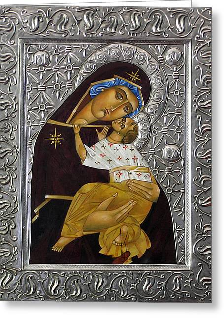 Byzantine Icon Digital Art Greeting Cards - Tenderness Greeting Card by Mary jane Miller