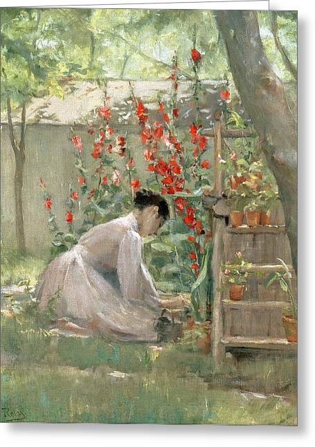 Tend Greeting Cards - Tending the Garden Greeting Card by Robert Reid