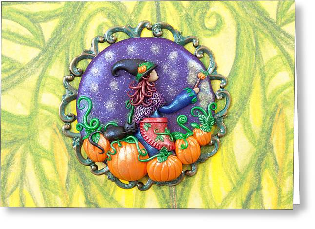 Pumpkins Reliefs Greeting Cards - Tending the Pumpkin Patch Greeting Card by Deidre Dreams