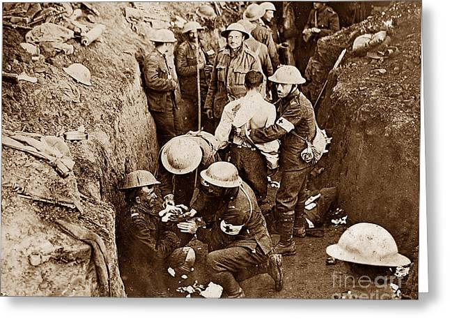 Tommie Greeting Cards - Tending Wounded British Soldiers During First World War Greeting Card by The Keasbury-Gordon Photograph Archive