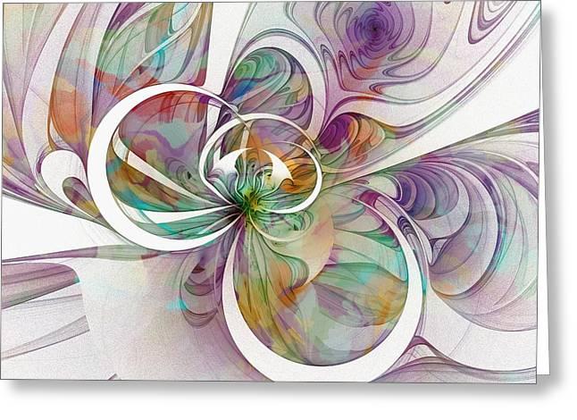 Floral Digital Art Digital Art Greeting Cards - Tendrils 09 Greeting Card by Amanda Moore