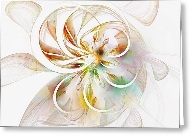 Floral Digital Art Digital Art Greeting Cards - Tendrils 11 Greeting Card by Amanda Moore