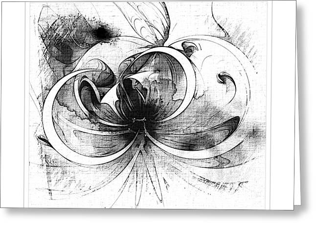 Floral Digital Art Digital Art Greeting Cards - Tendrils in pencil 01 Greeting Card by Amanda Moore