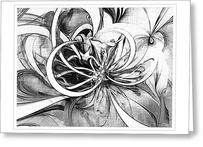 Floral Digital Art Digital Art Greeting Cards - Tendrils in pencil 02 Greeting Card by Amanda Moore
