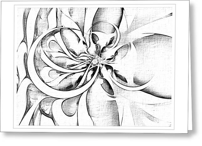 Floral Digital Art Digital Art Greeting Cards - Tendrils in pencil 04 Greeting Card by Amanda Moore