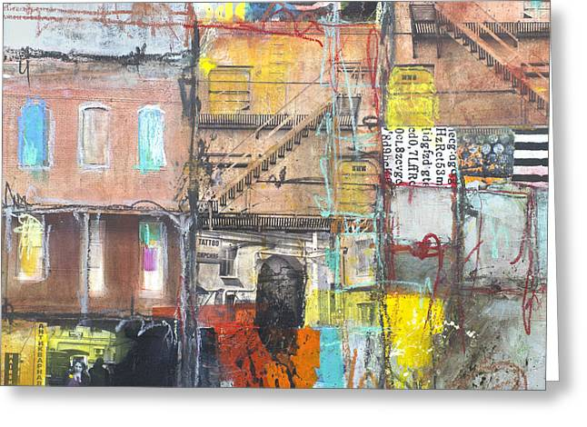 Staircase Mixed Media Greeting Cards - Tenement Dreams Greeting Card by Elena Nosyreva