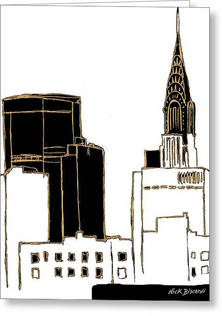 Tenement Empire State Building Greeting Card by Nicholas Biscardi
