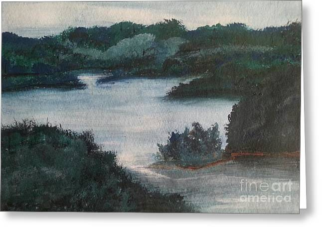 Tennessee Landmark Paintings Greeting Cards - Tenn River At Spring City Tn Greeting Card by Myrtle Joy
