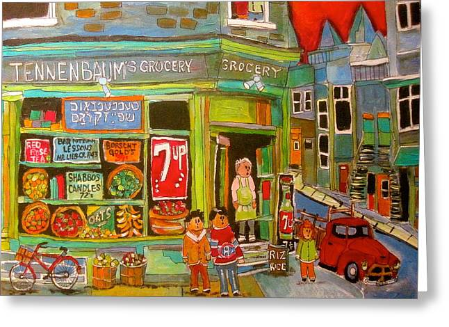 Seven-up Sign Greeting Cards - Tennebaums Grocery1950s Greeting Card by Michael Litvack