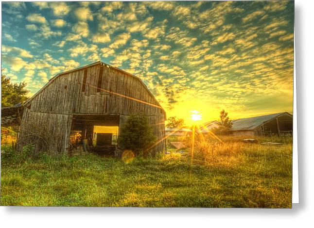 Tennessee Barn Greeting Cards - Tennesee Sunrise Greeting Card by  Caleb McGinn