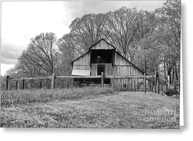 Tennessee Barn Greeting Cards - Tennessee Barn BW Greeting Card by Chuck Kuhn