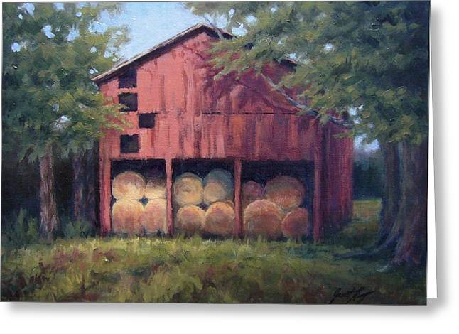 Leipers Fork Paintings Greeting Cards - Tennessee Barn with Hay Bales Greeting Card by Janet King