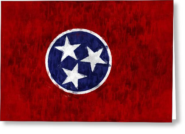 Nashville Tennessee Digital Art Greeting Cards - Tennessee Flag Greeting Card by World Art Prints And Designs