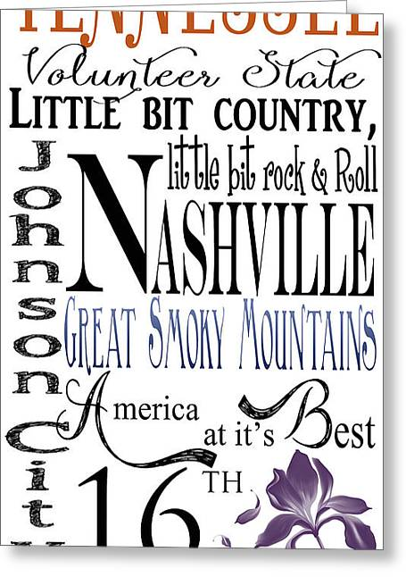 Various Digital Greeting Cards - Tennessee Greeting Card by Heather Applegate