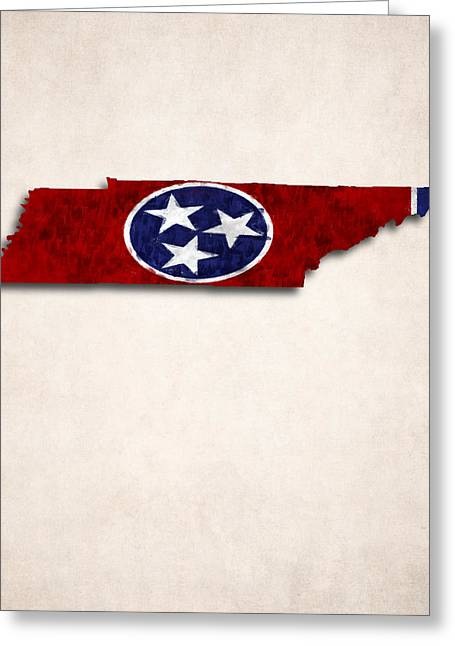 Geographic Digital Art Greeting Cards - Tennessee Map Art with Flag Design Greeting Card by World Art Prints And Designs