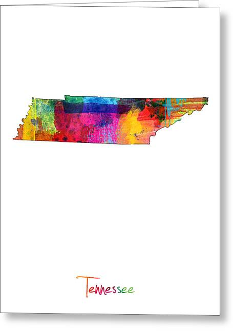 Cartography Digital Art Greeting Cards - Tennessee Map Greeting Card by Michael Tompsett
