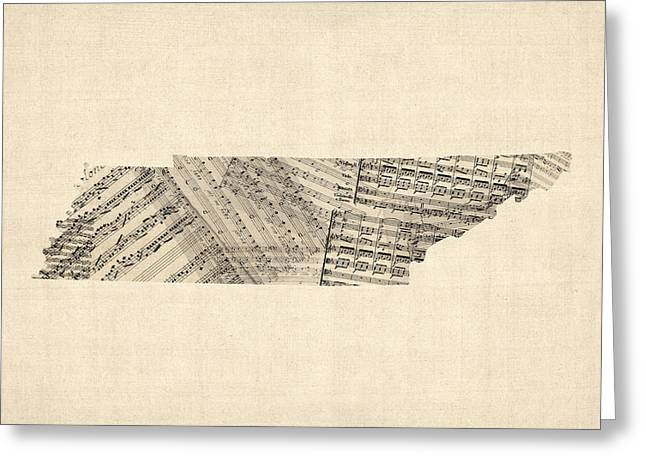 Tennessee Map Sheet Music Greeting Card by Michael Tompsett
