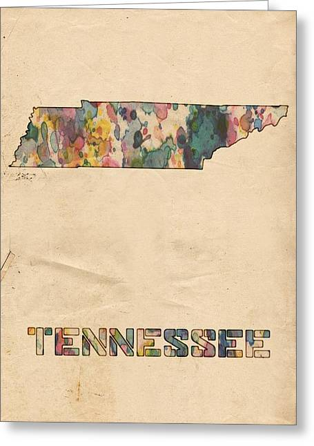 Vintage Map Digital Art Greeting Cards - Tennessee Map Vintage Watercolor Greeting Card by Florian Rodarte