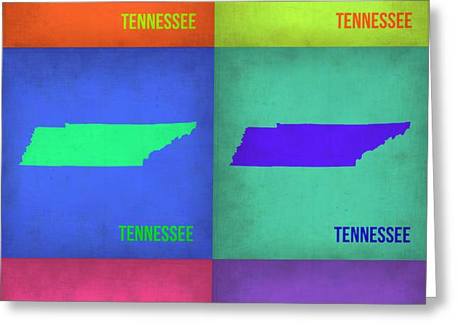 Tennessee Pop Art Map 1 Greeting Card by Naxart Studio