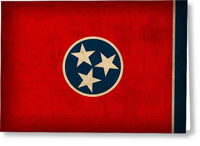 Tennessee Greeting Cards - Tennessee State Flag Art on Worn Canvas Greeting Card by Design Turnpike
