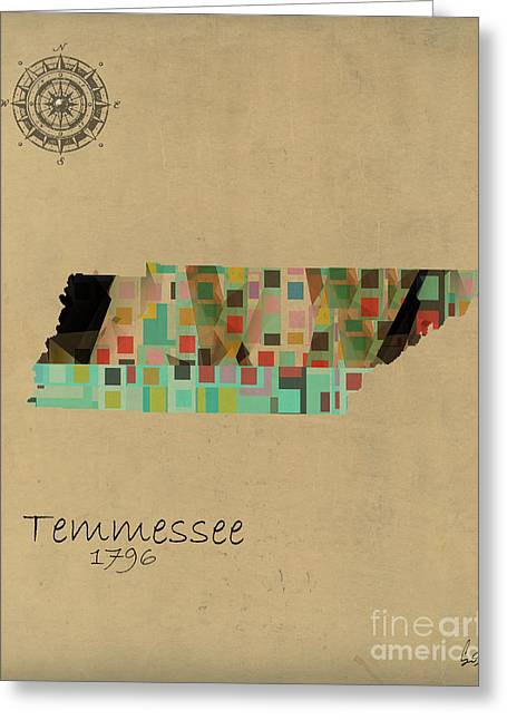 Abstract Map Greeting Cards - Tennessee State Map  Greeting Card by Bri Buckley