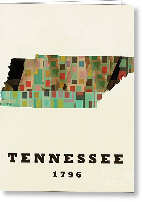 World Map Print Paintings Greeting Cards - Tennessee State Map Modern Greeting Card by Bri Buckley