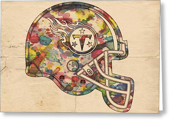 Tennesee Greeting Cards - Tennessee Titans Helmet Poster Greeting Card by Florian Rodarte
