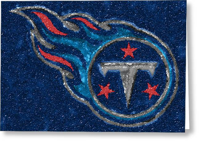 Nashville Tennessee Greeting Cards - Tennessee Titans Mosaic Greeting Card by Jack Zulli