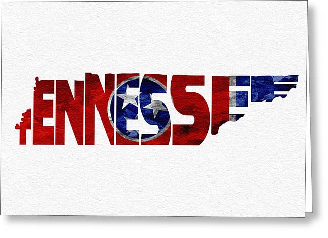 Modern Pyrography Greeting Cards - Tennessee Typographic Map Flag Greeting Card by Ayse Deniz