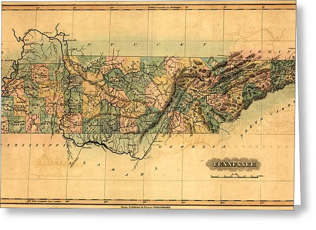 Tennessee Drawings Greeting Cards - Tennessee Vintage Antique Map Greeting Card by World Art Prints And Designs