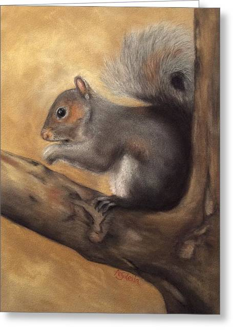 Tennessee Pastels Greeting Cards - Tennessee Wildlife - Gray Squirrels Greeting Card by Annamarie Sidella-Felts