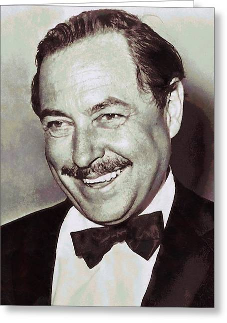 Author Mixed Media Greeting Cards - Tennessee Williams Greeting Card by Dan Sproul