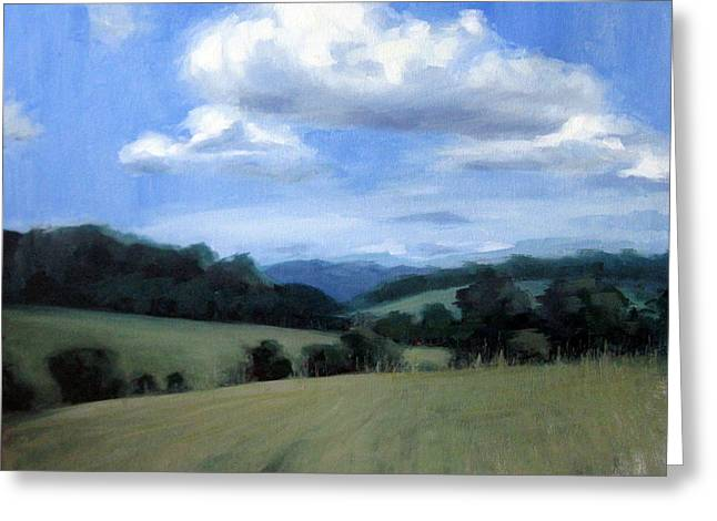 Leipers Fork Paintings Greeting Cards - Tennessees Rolling Hills and Clouds Greeting Card by Erin Rickelton