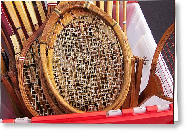Racquet Photographs Greeting Cards - Tennis Anyone Greeting Card by Art Block Collections