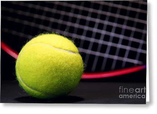 Tennis Club Greeting Cards - Tennis Ball and Racket Greeting Card by Olivier Le Queinec