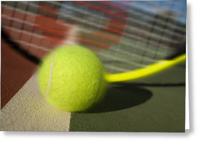 Forehand Greeting Cards - Tennis ball and racquet Greeting Card by Joe Belanger