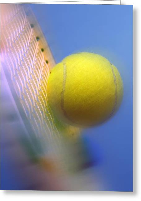 Wimbledon Greeting Cards - Tennis ball and racquet Greeting Card by Science Photo Library