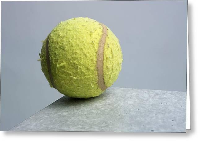 Tennis Photographs Greeting Cards - Tennis ball Greeting Card by Bernard Jaubert