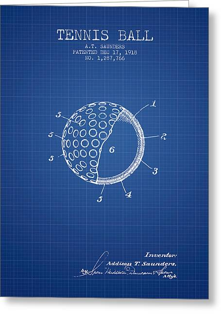 Tennis Game Greeting Cards - Tennis Ball Patent from 1918 - Blueprint Greeting Card by Aged Pixel