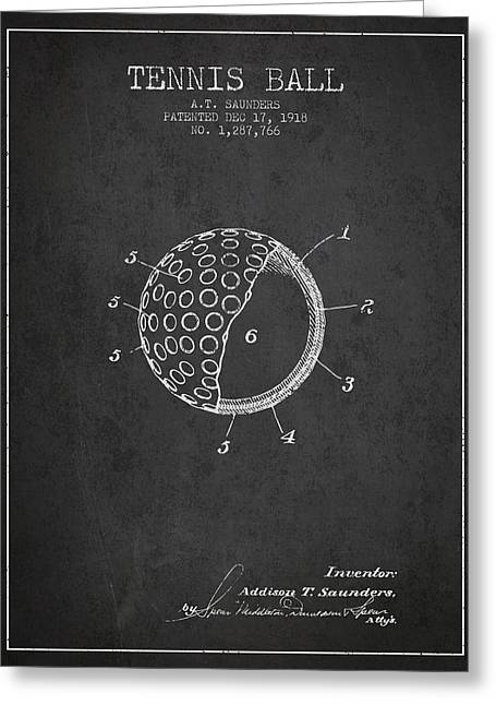 Tennis Players Greeting Cards - Tennis Ball Patent from 1918 - Charcoal Greeting Card by Aged Pixel