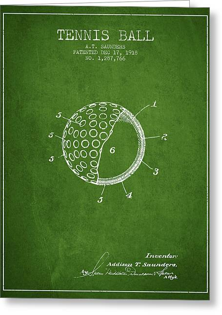 Tennis Game Greeting Cards - Tennis Ball Patent from 1918 - Green Greeting Card by Aged Pixel