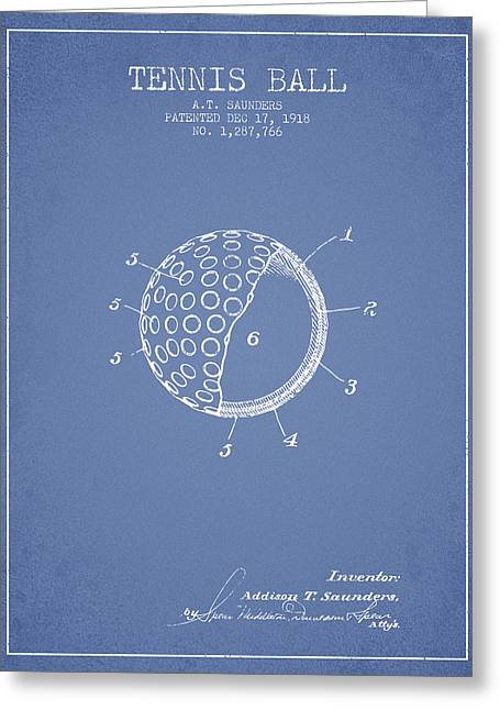 Tennis Players Greeting Cards - Tennis Ball Patent from 1918 - Light Blue Greeting Card by Aged Pixel