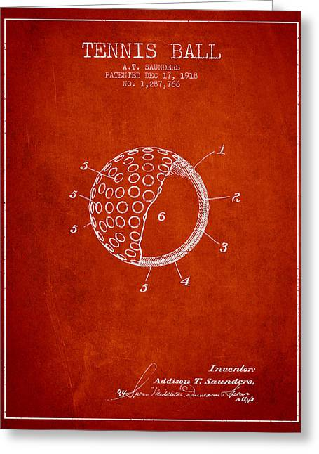 Tennis Racket Greeting Cards - Tennis Ball Patent from 1918 - Red Greeting Card by Aged Pixel
