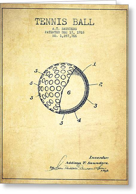 Tennis Players Greeting Cards - Tennis Ball Patent from 1918 - Vintage Greeting Card by Aged Pixel