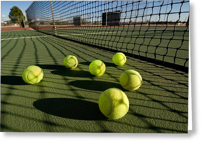 Forehand Greeting Cards - Tennis balls and court Greeting Card by Joe Belanger