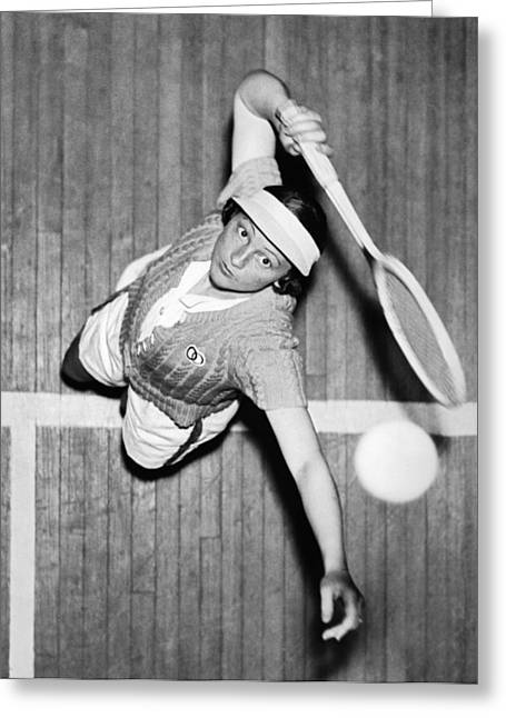 Tennis Champ Sylvia Henrotin Greeting Card by Underwood Archives