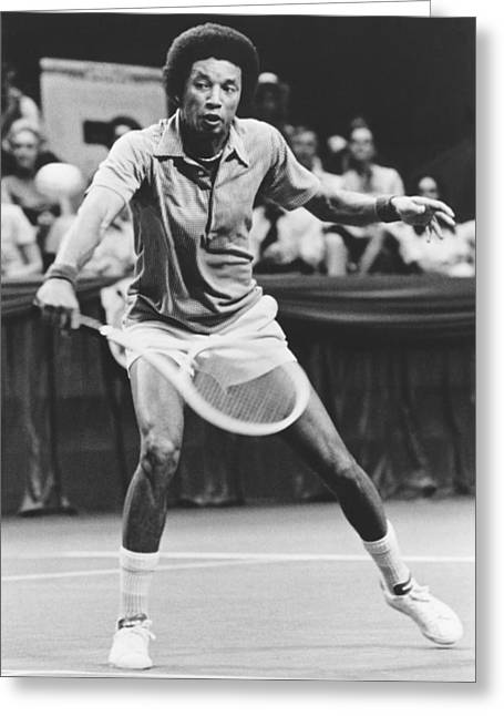 Tennis Champion Arthur Ashe Greeting Card by Underwood Archives