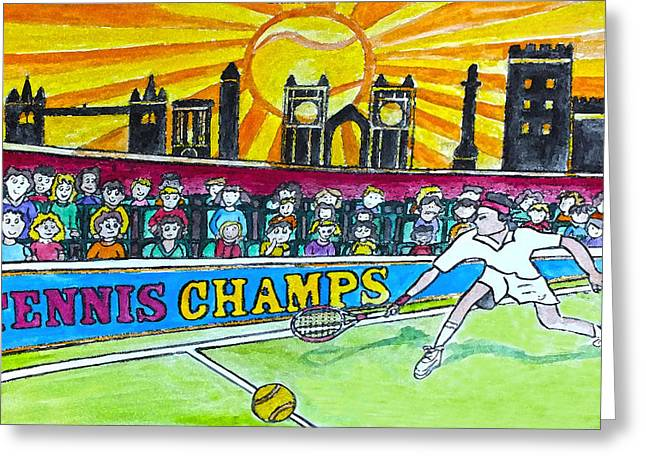 Tennis Drawings Greeting Cards - Tennis Champs Greeting Card by Monica Engeler