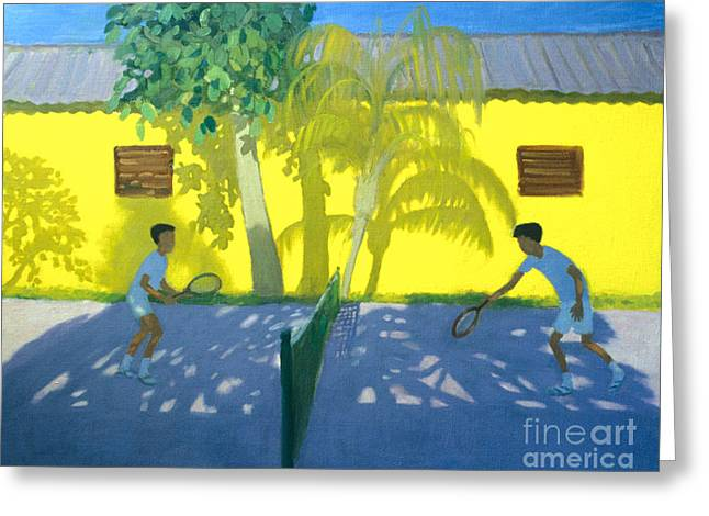 Racquet Paintings Greeting Cards - Tennis  Cuba Greeting Card by Andrew Macara