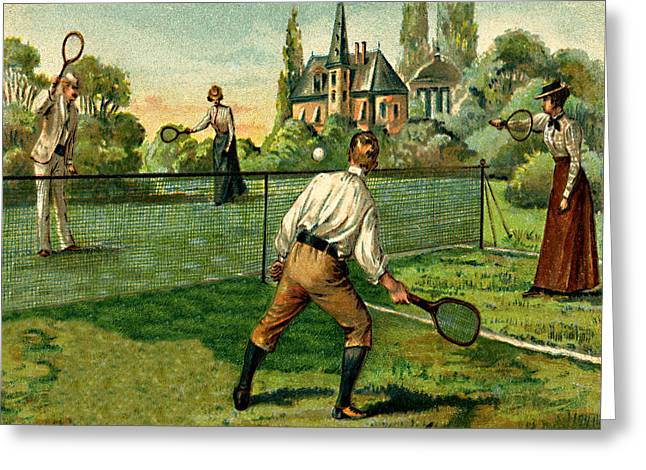 Racquet Paintings Greeting Cards - Tennis Doubles Match 1800s Victorian estate Greeting Card by Private Collection